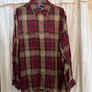 Polo by Ralph Lauren men shirt plaid rayon NICE L